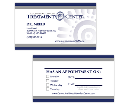 Cancer and Blood Disorders Treatment Center Business Card