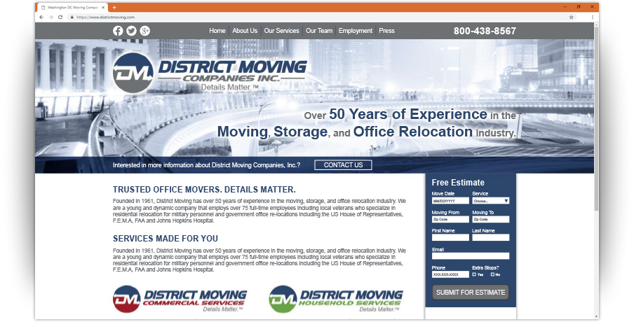 District Moving Companies Website
