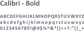 Font Calibri Bold