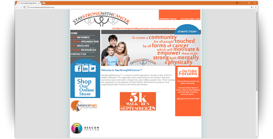 StayStrongWithCancer Website